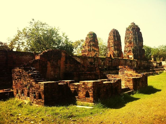 Leaning Towers At The Ruins Of A Temple