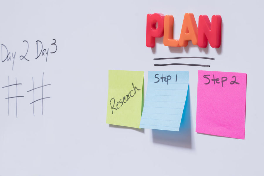 Business Goals Plan Planning Steps Text White Board Adhesive Note Colorful Multi Colored Paper Postit Postits Professional Reminder Strategic Strategy Text To Do List White Background Whiteboard Whiteboards