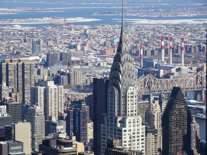 High angle view of chrysler building with cityscape