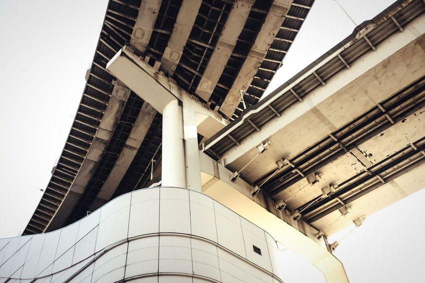 Two become one Architecture Built Structure Building Exterior Infrastructure Bridge Rainbow Bridge Tokyo Japan Landmark International Landmark Low Angle View Famous Place Road Tall - High Elevated Track Highway City Cityscapes Urban Urban Geometry Geometric Shapes Minimalism Minimalobsession Modern Modern Architecture Pmg_tok
