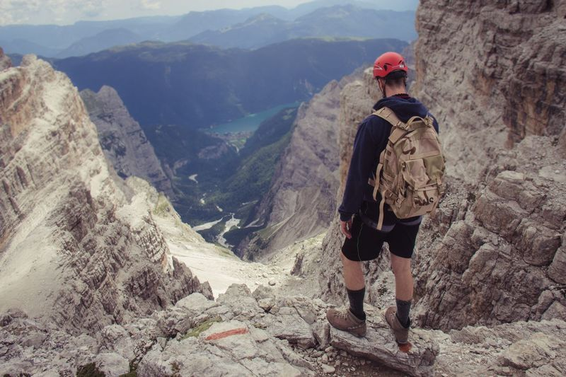 Mountain Hiking Adventure One Person Mountain Range Backpack Nature Climbing People Beauty In Nature Italy Nature Landscape Real People Scenics