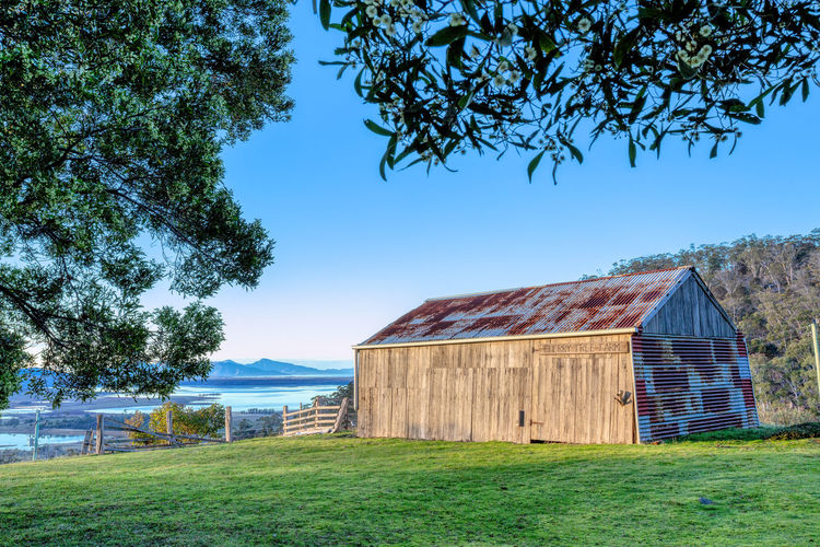 Built Structure Nature Field Architecture Land Building Exterior Blue Agricultural Building Barn Landscape Farm Building Outdoors Shed Sunrise Over Farmland Sunrise With View Run Down Building Old Farm Old Farm Building Farm With View Wooden Shed Corrugated Roof Rustic Barn Rustic Building Rustic Shed