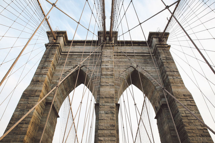Architecture Architecture Bridge - Man Made Structure Brooklyn Bridge  Brooklyn Bridge / New York Built Structure City Cloud - Sky Connection Day Low Angle View New York New York City No People Outdoors Sky Sunset Suspension Bridge Transportation Travel Travel Destinations Winter