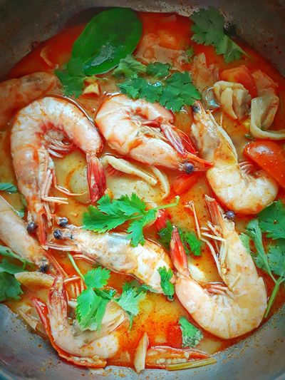 Red Color Tomyum Thailand Malaysia Food Love I Lovecooking Close-up Shrimp Seafood Prepared Food