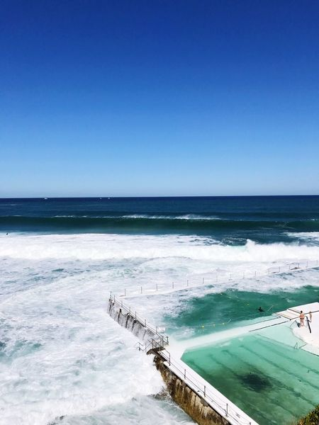 Bondi Icebergs pool. 🌊🏊 Sea Water Clear Sky Horizon Over Water Blue Beauty In Nature Nature Scenics Beach Tranquility Tranquil Scene Outdoors Day Swimming Pool Wave Sky Bondi Iceberg Bondi Bondi Beach Sydney Australia Ocean Ocean Pool Pool Swimming