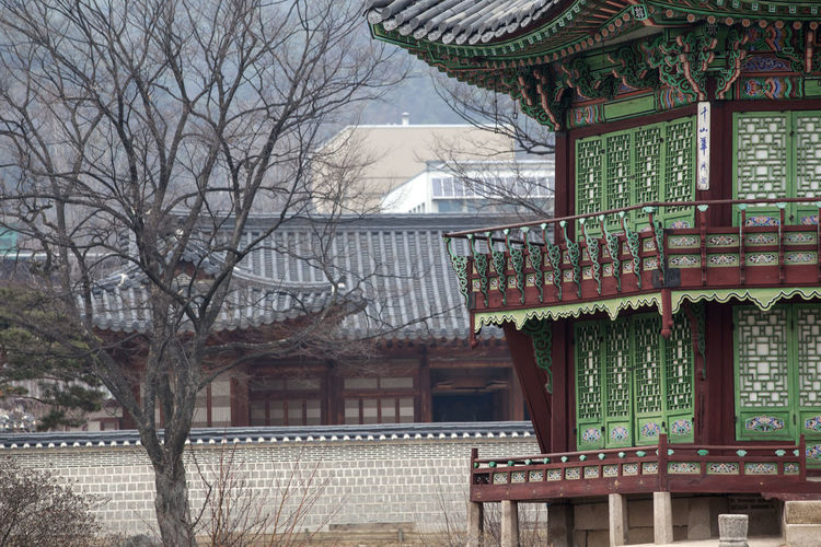 Architecture Balcony Building Building Exterior Built Structure Choseon Day Exterior Gyungbok Palace Historic Place House Low Angle View No People Outdoors Palace Railing Residential Building Residential Structure Roof Roof Tile Sunlight Tree Window Wood - Material