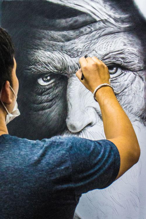 Artist Man At Work Art Artist Working Close-up Eyes Hand Human Hand Watching You