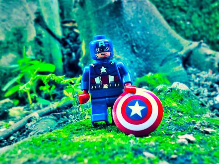 captain america Captainamerica Toystagram Toyphotography Minifigures Toys Toyslagram Marvels Tree Forest Childhood Grass