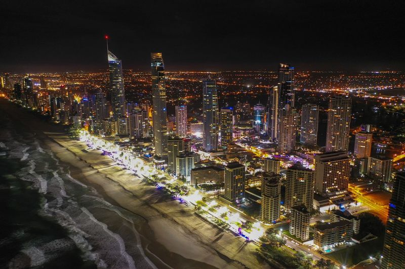 Gold Coast Night City Illuminated Building Exterior Architecture Built Structure Cityscape High Angle View Building Sky Crowd Nature Office Building Exterior Outdoors Travel Destinations Skyscraper Lighting Equipment Crowded Modern Light