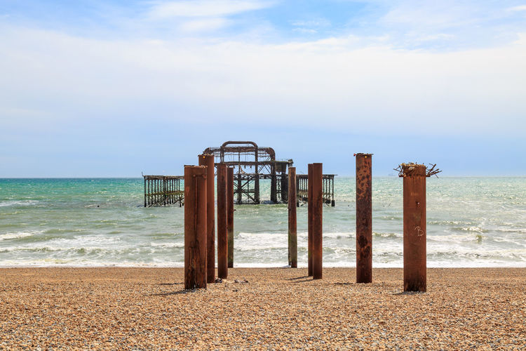 West Pier, Brighton Abandoned Beach Beauty In Nature Brighton Day Horizon Over Water Nature No People Outdoors Pebbles Ruined Rusty Scenics Sea Shore Sky Sussex Tranquility Water Wave West Pier