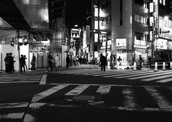 Zebra Crossing Walking City People B&w Street Photography Streetphotography_bw Snapshot Night Nightphotography On The Road City Life Street CityWalk Shadows & Lights at Kanda 神田 , Tokyo Japan