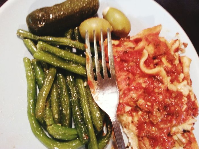 FoodPorn ;) Lasagna!!!!! Greenbeans Garlic Green Olives Pickles Diner Time  Wine Forks