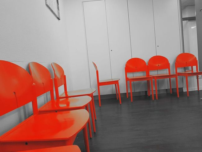 Waiting .... Red Chairs Shadows & Lights Black & White Room Indoor Foucs On Backround