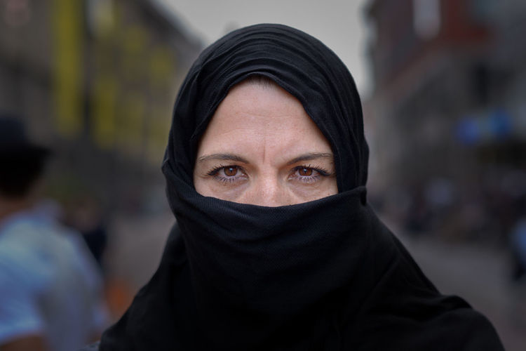 Adult Body Part Close-up Clothing Covering Focus On Foreground Front View Headshot Hood - Clothing Human Body Part Human Face Looking At Camera Mid Adult One Person Portrait Protection Security Veil Women