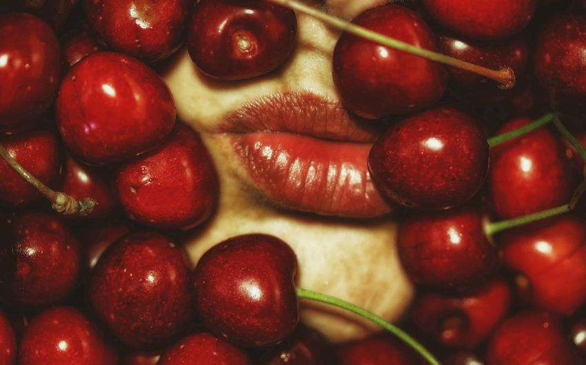 Cherry and lips Red Fruits Cherry Blossoms Cherry Colors Lips Womanselfie Still Life Red Color Kiss Food And Drink Red Food Fruit Indoors  Close-up Sweet Food
