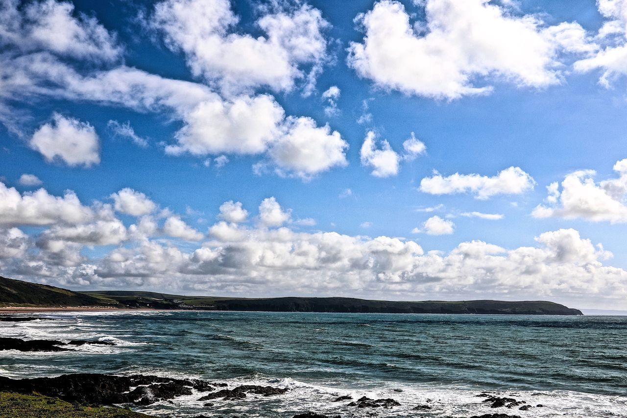 sea, sky, beauty in nature, scenics, cloud - sky, nature, tranquility, outdoors, water, day, no people, tranquil scene, blue, horizon over water