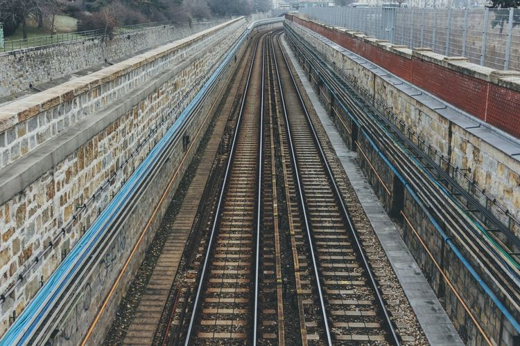 Railroad Transportation Rail Transportation Perspective No People Textures And Surfaces Vienna Urban