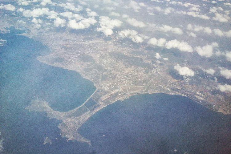 From An Airplane Window Aerial Shot High Mediterranean
