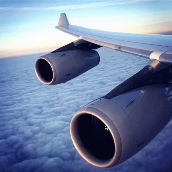 High flyin' Airplane Jet Engine Flying Travel Destination Clouds And Sky
