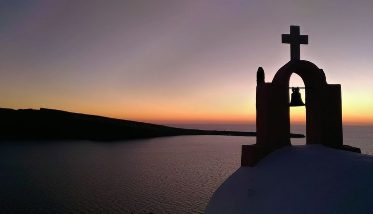 || Nature Theories || Santorini, Greece. TheFoneFanatic Vacations Mobilephotography PhonePhotography Scenics Colorful Zenfone Photography Sea Sunset Horizon Silhouette Sky Church Cross HUAWEI Photo Award: After Dark Be Brave Summer In The City