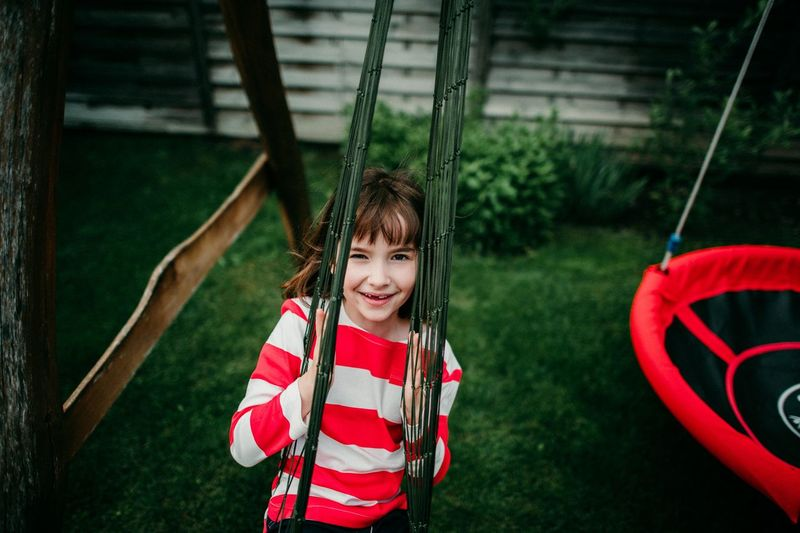 Portrait of a smiling girl in playground