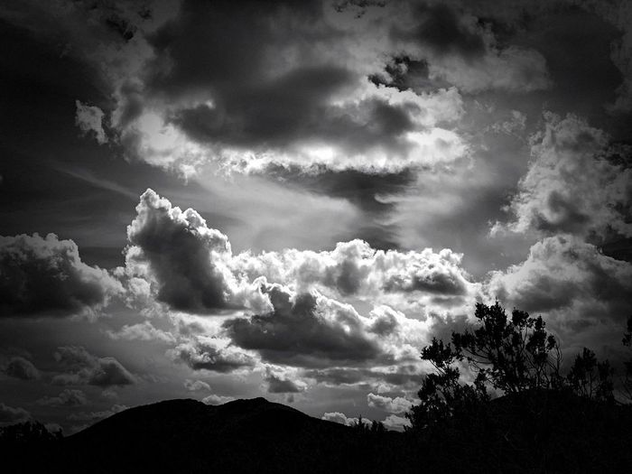 """And Then I Looked Up"" Dramatic cloud formations above Cougar Mountain, New Mexico. Black And White Photography Black And White New Mexico Skies New Mexico Photography New Mexico Mountain Silhouettes Dramatic Sky Clouds And Sky Clouds Cloud - Sky Sky Nature Silhouette Storm Cloudscape"
