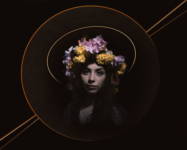 She Flower Flowering Plant One Person Portrait Studio Shot Young Adult Indoors  Looking At Camera Black Background Plant Front View Young Women Hair Beauty Hairstyle Leisure Activity Headshot Long Hair Beautiful Woman Flower Head Contemplation