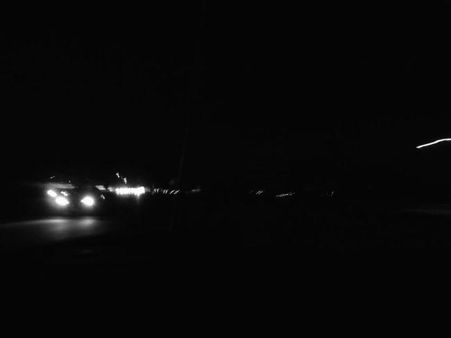 Night Car Illuminated Outdoors Black Lights Minimal