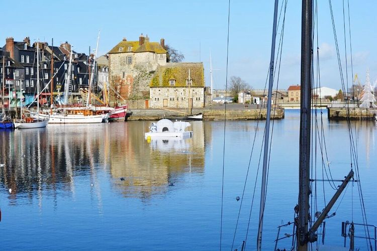 Reflection Nautical Vessel Building Exterior Sailboat Built Structure Architecture Travel Destinations Water Sky Harbor Clear Sky Moored Transportation Outdoors Blue Day No People Sailing Ship Mast Yacht France Honfleur Normandie