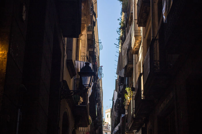Catalonia Catalunya Plants SPAIN Shaded Shadows & Lights Architecture Balcony Building Exterior Built Structure Day Drying Light And Shadow Linen Narrow Street No People Outdoors Plants And Flowers Residential Building Residential District Residential Structure Shadow Shadows Sky