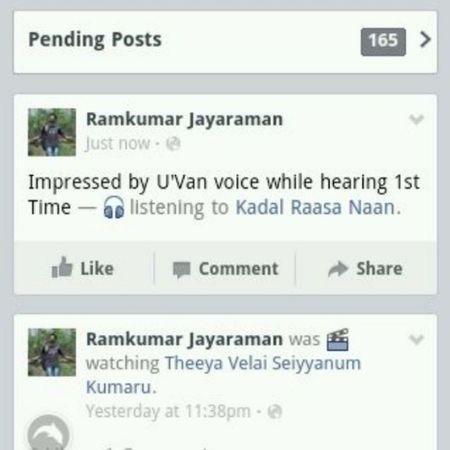 Facebook Status Yuvan Arr Rahman maryan