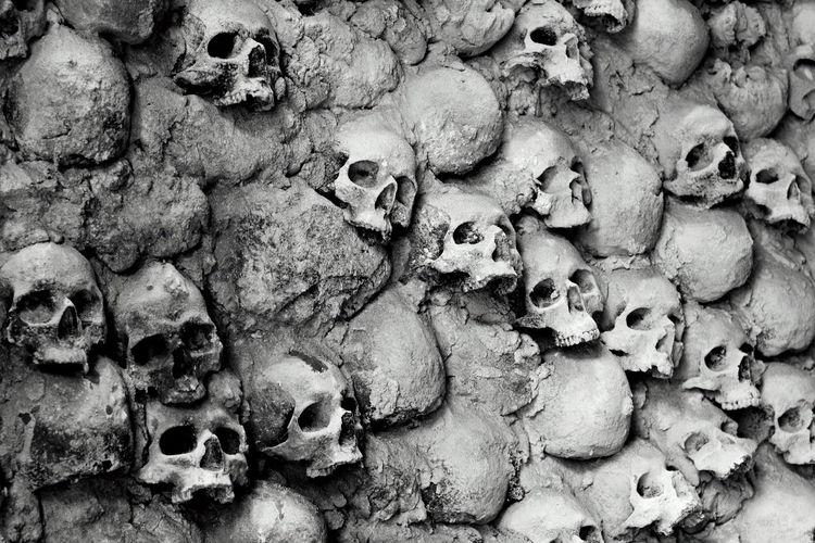 Human Skulls In Wall