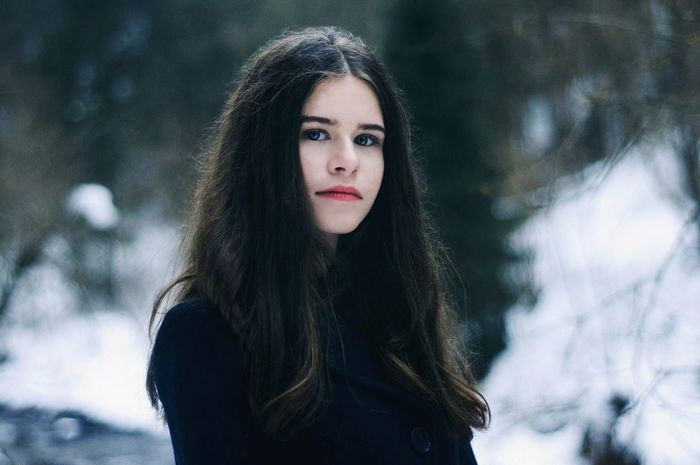 Winter Cold Temperature Snow Long Hair Portrait One Person Outdoors Warm Clothing People Looking At Camera Curly Hair Front View Adult Beautiful People Beautiful Woman Teenager Beauty One Woman Only Snowflake Only Women Snowwhite Winter Princess BlueEyes Blue Eyes