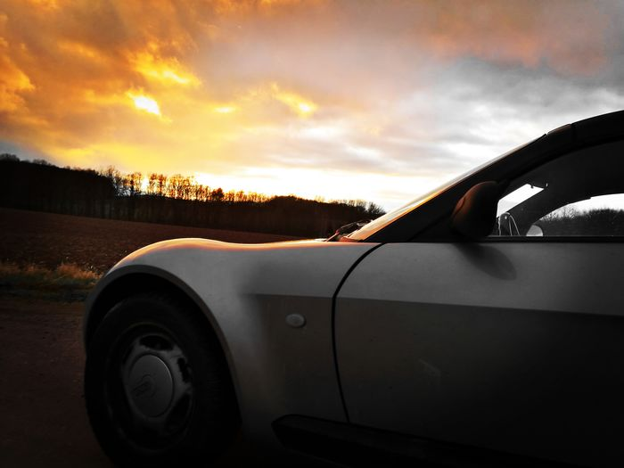 Sonne Smart Roadster Sunset Car Sky Close-up Car Point Of View Windshield