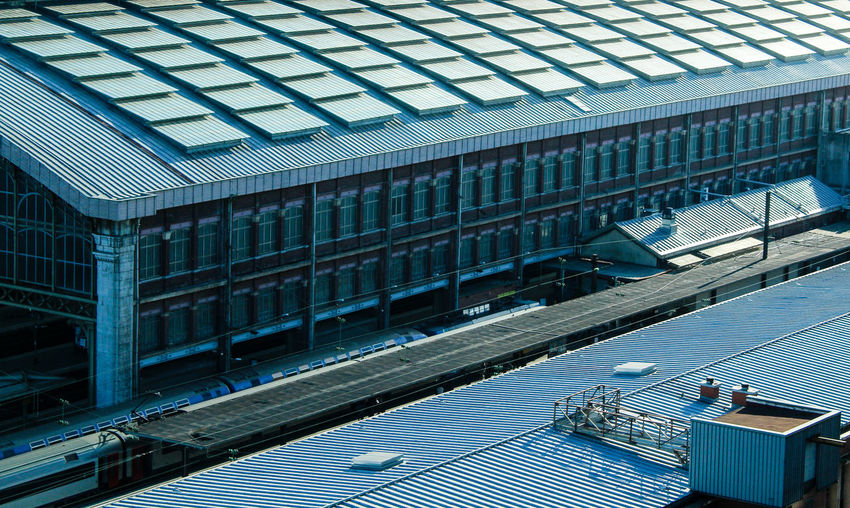 Aerial View Blue Built Structure City City Life Day Diminishing Perspective Geometric Shapes Geometry Industrial Industrial Photography Modern No People On The Way Railway Repetition Roof Station The Way Forward Transportation Urban Urban Exploration Windows Hidden Gems