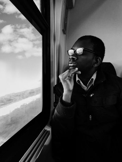Mytrainmoments Mydtrainmoments ShotOnIphone IPhoneX מייאייפון10 מיישחורלבן One Person Window Real People Mode Of Transportation Glass - Material Vehicle Interior Transparent Analogue Sound The Art Of Street Photography