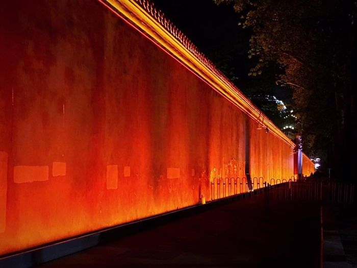 Forbidden city wall Tourist Attraction  Evening In Beijing ASIA Orient China History Colors Of China Architecture Illuminated Night Built Structure No People Transportation Orange Color