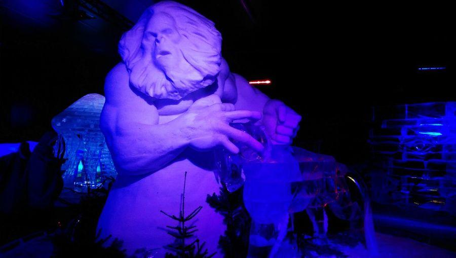 Night Statue Sculpture Illuminated Blue Creativity No People City Life Ice Ice Sculpture Ice Sculpture Park