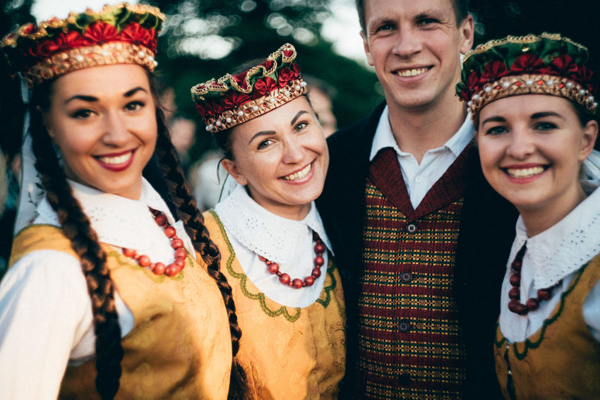 Adult Adults Only Celebration Cheerful Close-up Friendship Group Of People Happiness Headdress Headshot Lithuanian Lithuanian Clothes Lithuanian Clothing Lithuanian Girls Looking At Camera Outdoors Portrait Real People Smiling Stage Costume Togetherness Traditional Clothing Women Young Adult Young Women