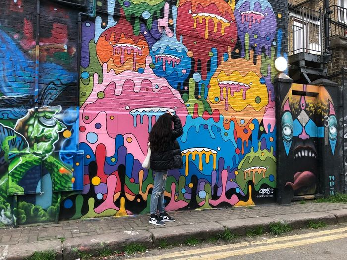 London #Iphoneography #fashion #london #outfit #OOTD Graffiti Multi Colored Street Art Creativity Art And Craft Representation Day City Street Wall - Building Feature First Eyeem Photo