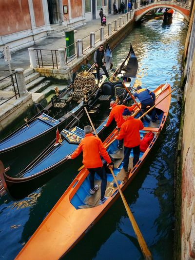 Venice, Italy Traffic Jams That's Why Gondolas Must Be So Thin Mobile Photography Art Fineart Orange Orange Gondolas Converging Lines Reflections And Shadows