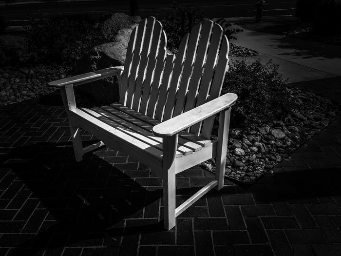 Waiting Brick Pavers Sunlit Black And White Filters Shadows Bench No People Seat High Angle View Outdoors Wood - Material Pattern Built Structure