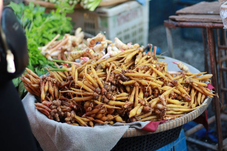 Chinese ginger Ginger Chinese Ginger City Market Retail  Business Finance And Industry For Sale Basket Market Stall Close-up Food And Drink