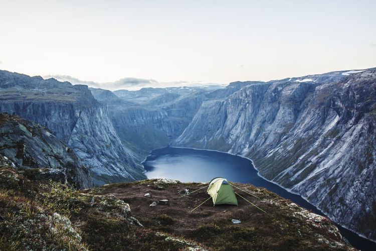 Camping on the way to Trolltunga Nature Dam Mountain Beauty In Nature Travel Destinations Glacier Outdoors Waterfall Snow Water No People Adventure Power In Nature Day Sky Lost In The Landscape Done That. Been There. Warm Clothing Norway🇳🇴 Trolltunga Photographer Beauty In Nature Landscape An Eye For Travel