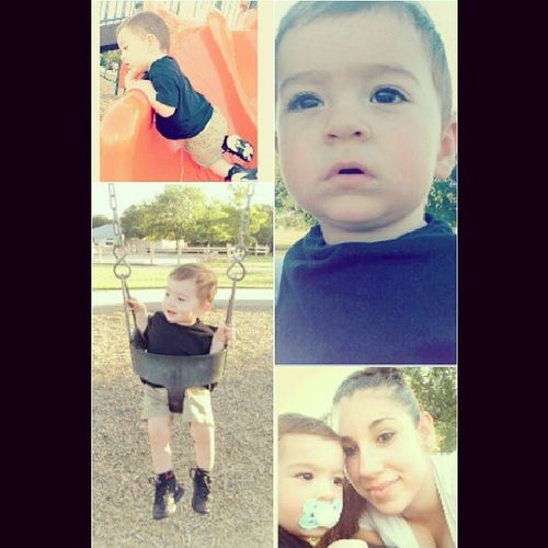 Tokk my baby to the park after work the other day, Swingbabyswing Lookinovertheslide Fundaywithmommy Ilovemybby <3