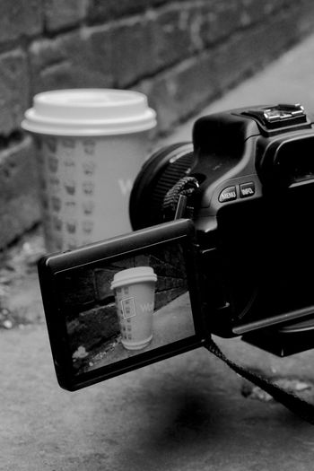 Black & White Black And White Camera Close-up Coffee Cup Day Focus On Foreground No People Photo Of Photo Streetphotography Technology The Street Photographer - 2017 EyeEm Awards Food Stories Food Stories