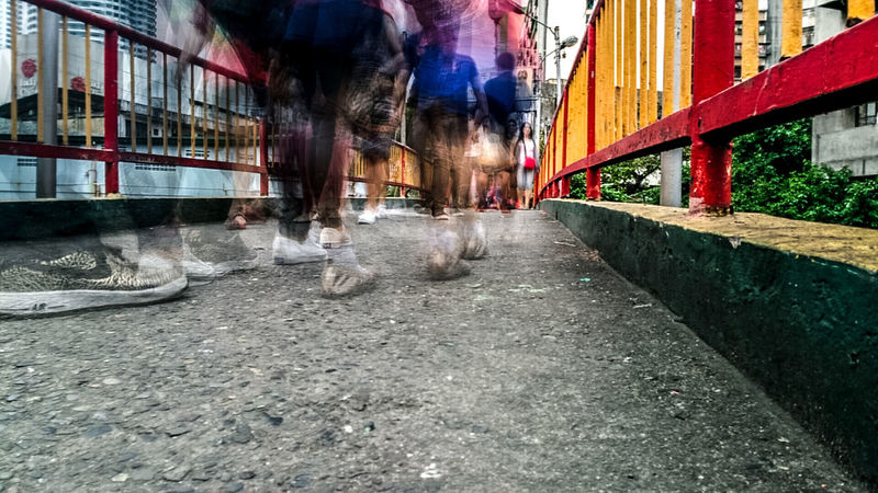 Alay Lakad (Pilgrimage)... Bridge Feet Nike Shoes People Motion Motion Blur Street People Walks Of Life Diverse Multiple People Red Yellow Walking EyeEm Diversity EyeEm Best Shots Eyeem Philippines The Street Photographer - 2017 EyeEm Awards The Photojournalist - 2017 EyeEm Awards