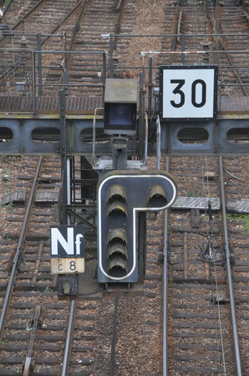 30 France Rouen Signal Brown Color Day Full Frame High Angle View Information Sign Metal No People Railway Sign Tracks Trainstation Unicolor