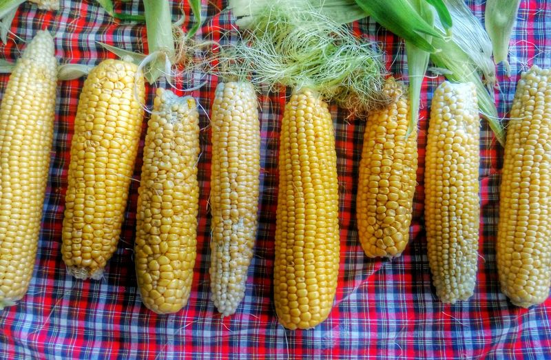 Directly above shot of corns on table