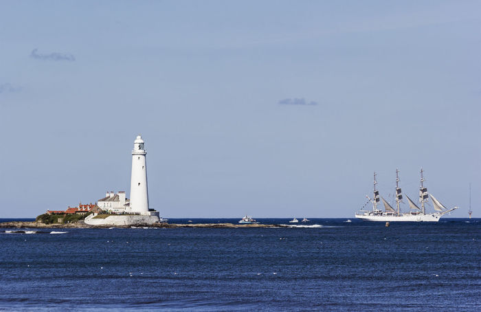 A tall ship sails past St Marys Lighthouse, Whitley Bay, UK. Coast Coastline Lighthouse Nautical Vessel No People North Sea Northumberland Ocean Sailing Scenics Seascape St Marys Lighthouse Tall Ship Whitley Bay